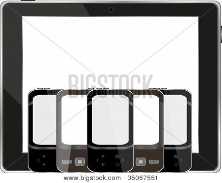 Modern Digital Tablet Pc With Mobile Smartphone On White