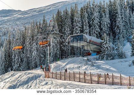 Demanovska Dolina, Slovakia - February 8: Ski Lift Chair Top Station Zahradky In Ski Resort Jasna On