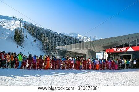Demanovska Dolina, Slovakia - February 8: Many Skiers In Front Of Cableway Funitel In Ski Resort Jas