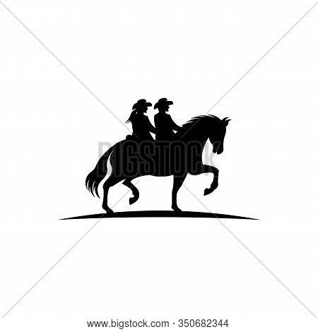 Men And Women With Lasso Riding A Horse ,a Cowboy Riding A Horse In Silhouette