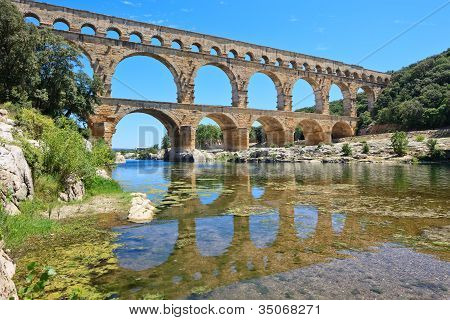 Roman aqueduct Pont du Gard near Nimes Languedoc France Europe. Unesco World Heritage site poster