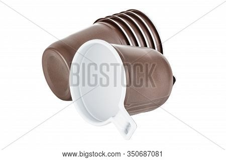 Lying One And Five In Set Unused Disposable White Plastic Mugs With Brown Satin Texture On The Outsi