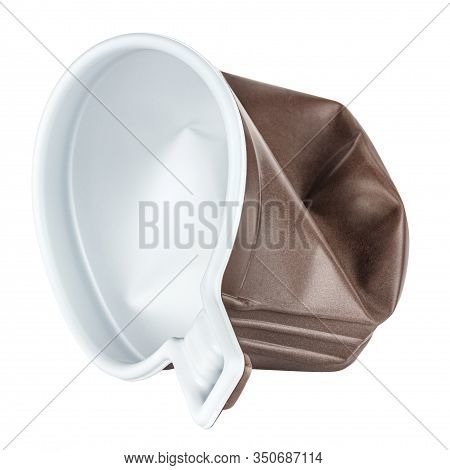Lying Crumpled Unused Disposable White Plastic Mug With Brown Satin Texture On The Outside Isolated
