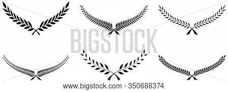 Laurel Honor Wreath Vector On White Isolated Background. A Set With Six Black Half Laurel Wreath Ill