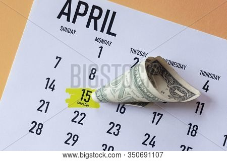 Tax Day 2020 In The United States. 2020 Tax Calendar. Important Irs Tax Due Date And Deadline Marked
