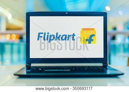 Poznan, Pol - Jan 30, 2020: Laptop Computer Displaying Logo Of Flipkart, An Indian E-commerce Compan