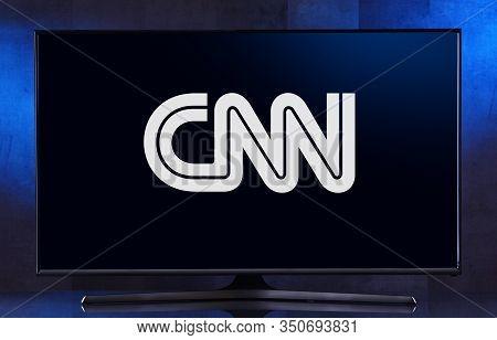 Flat-screen Tv Set Displaying Logo Of Cnn