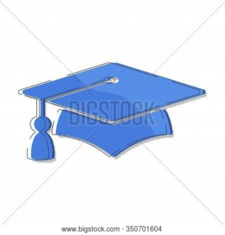Graduate Cap Blue Halftone Logo. University Mortarboard. Badge For Banner, Poster Or Flyer For Gradu