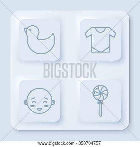 Set Line Rubber Duck, Baby Onesie, Happy Little Boy Head And Lollipop. White Square Button. Vector