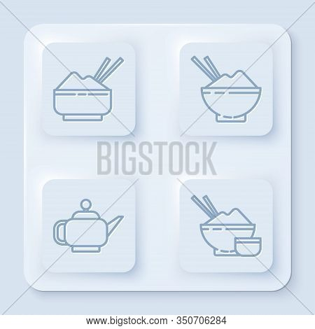 Set Line Rice In A Bowl With Chopstick, Rice In A Bowl With Chopstick, Japanese Tea Ceremony And Ric