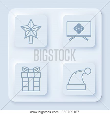 Set Line Christmas Star, Merry Christmas On Television, Gift Box And Christmas Santa Claus Hat. Whit