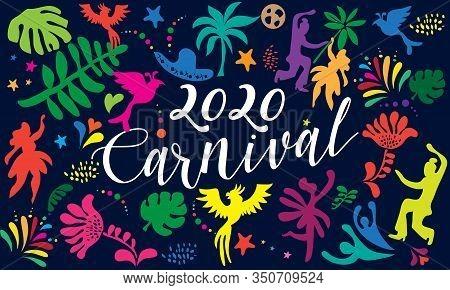 2020 Abstract Rio Brazilian Carnival music dance festival night party brochure cover banner, flyer. Happy people Samba dancers parade Sambadrome, New Orleans Mardi Gras, Notting Hill London, Venezia costume mask, firework, exotic tropical palm leaves patt