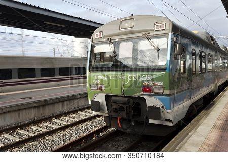 Vigo, Spain - Feb 12, 2020: Touristic Train Of Galicia Stopped At Vigo-guixar Railway Station On Feb
