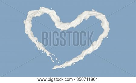 Heart Shaped Milk Splashed, Realistic Product Rendering Is A Convenient Way For Your Advertising, 3d