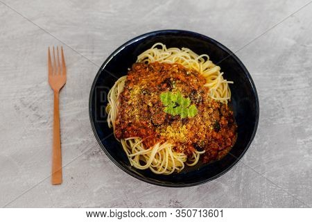 Spaghetti Bowl With Vegan Bolognaise Sauce Made With Textured Vegetable Protein
