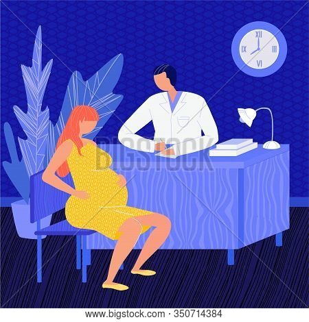 Vector Flat Illustration Pregnant Woman At Doctor S Appointment. She May Have Headache, Back Pain, V