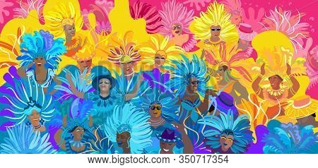 2020 Abstract Rio Brazilian Carnival music dance festival night party brochure cover banner, flyer. Happy people Samba dancers parade Sambadrome, New Orleans Mardi Gras, Notting Hill London, Venezia costume mask, firework, exotic tropical palm leaves patt
