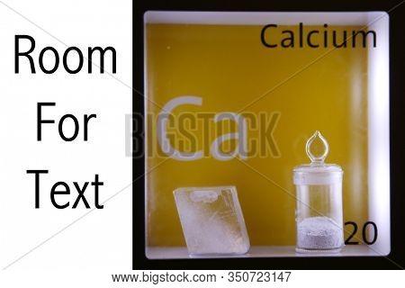 Calcium. Scientific example of the element Calcium. Scientific name Ca for Calcium. Periodic Table. Science and Nature.
