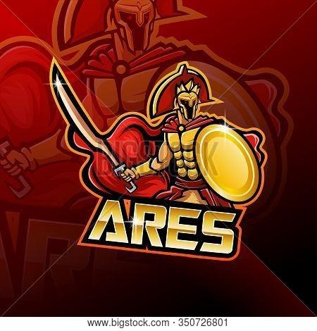 Ares Esport Mascot Logo Design With Text