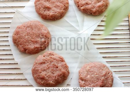 Plant Based Meat Concept. Vegetable Burger Patties. First Non-soy Plant Meat To Sell In Supermarkets