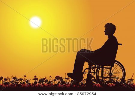 Disabled men on a wheelchair