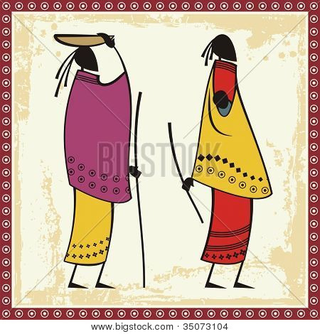 Vector illustrations of African Masai women in traditional clothing.