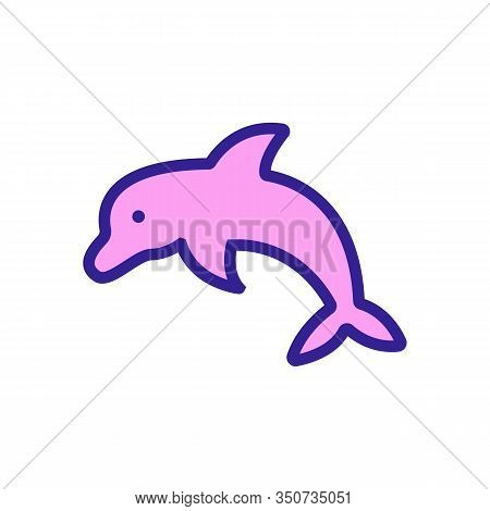 Dolphin Icon Vector. Thin Line Sign. Isolated Contour Symbol Illustration
