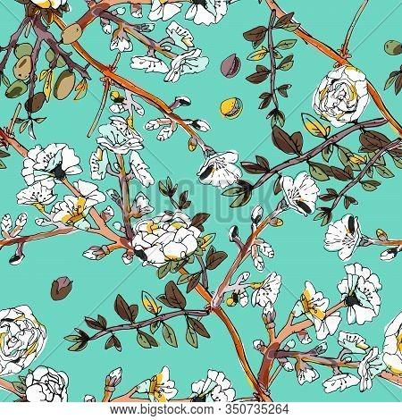 Seamless Pattern With Blossom Flowers Sakura Tree. Vector Illustration With Plants Wild Roses. Gentl