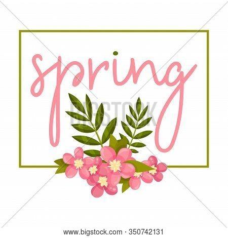 Framed Spring Botanical Composition With Flower Bouquet And Borderline Vector Illustration