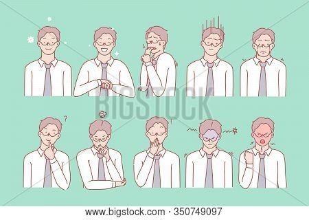 Business Mans Emotions And Facial Expressions Set Concept. Illustration Or Collection Showing Differ