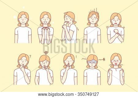 Childs Emotions And Facial Expressions Set Concept. Illustration Or Collection Showing Different Emo