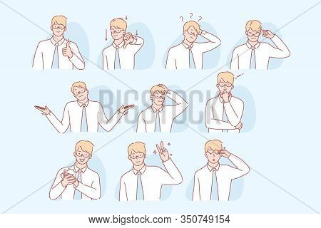 Business Mans Gestures And Facial Expressions Set Concept. Illustrations Of Young Man Showing Differ