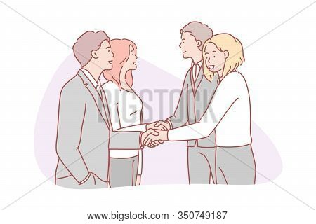 Business, Partnership, Collaboration, Team, Agreement Concept. Businessmen And Women Partners Collab