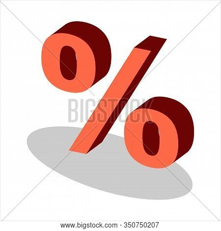 Isometric Percent Icon. Percent Icon Vector Flat Illustration For Graphic And Web Design Isolated On
