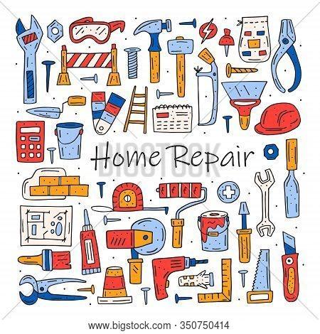 Home Repair Tools, Instruments Cartoon Cute Hand Drawn Doodle Vector Clipart, Set, Illustration, Ele