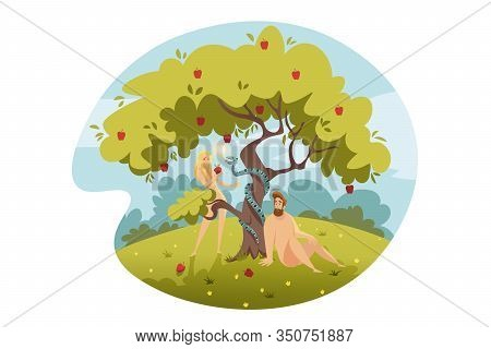 Adam And Eve, Original Sin, Bible Concept. Eve Temptated By Snake Satan, Bites Apple From Tree Of Li