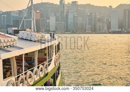 HONG KONG, CHINA - CIRCA JANUARY, 2019: close up shot of the Star Ferry. The Star Ferry is a passenger ferry service operator and tourist attraction in Hong Kong.