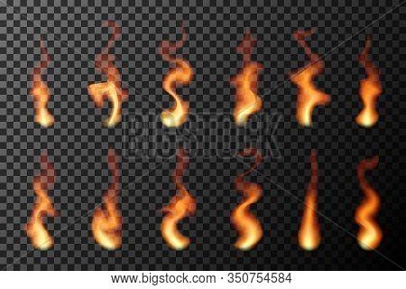 Set Of Transparent Fire Flames. Blaze Design Vector Illustration.