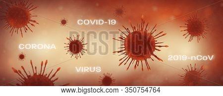 Biology And Science. Virus Or Bacteria Cells. Global Alert. Epidemic. 3d Render Illustration.
