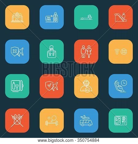 Transportation Icons Line Style Set With Flatbed Truck, Minibar, Tax Free And Other Fitness Elements