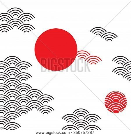 Seigaiha Or Seigainami Literally Means Wave Of The Sea. Card Banner Design For Text Abstract Simple