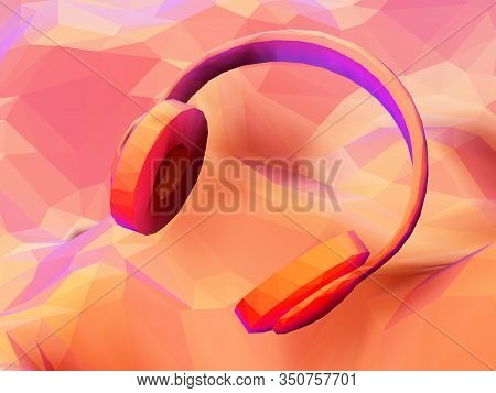 3d Polygonal Headphones On Low Poly Landscape Background. Abstract Visualization Of Digital Sound An