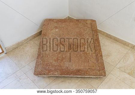 Jerusalem, Israel, January 25, 2020 : The Paul Tombstone From The Martyrius Monastery - Exhibit Of T