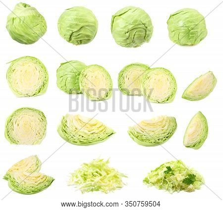 Green Cabbage Isolated On White Background. Healthy Food