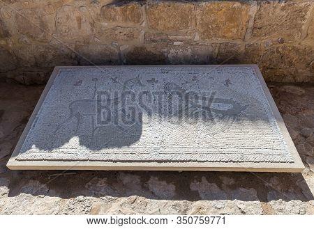 Jerusalem, Israel, January 25, 2020 : Mosaic Floor From The Sinagogue At Naaran At The Exhibit Of Th