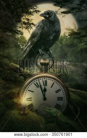 Fairy Raven Guardian Of Time And Keeper Of Memories In A Magical Forest