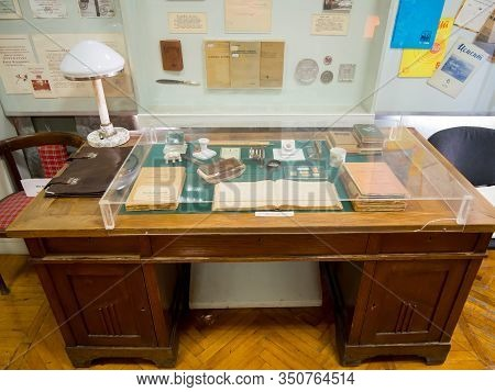 Novorossiysk, Russia - August 01, 2019: Work Table Of Professor Ponomarev I.f., Museum Of The Histor