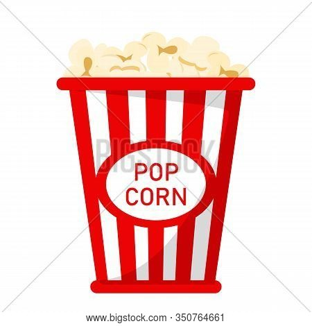 Popcorn In The Red Box Vector Isolated. Tasty Snack