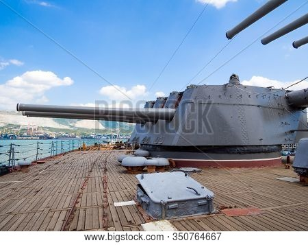 Novorossiysk, Russia - August 01, 2019: Gun Turrets On The Deck Of The Cruiser