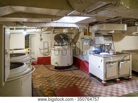 Novorossiysk, Russia - August 01, 2019: Ship Kitchen, Museum Ship Cruiser